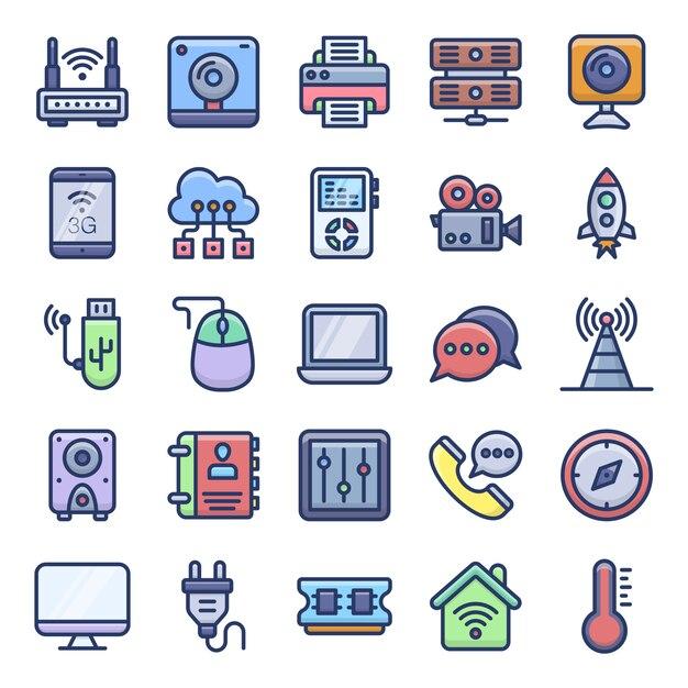 Elektronische apparaten plat pictogrammen Premium Vector