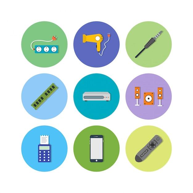 Elektronische apparatenpictogrammen voor persoonlijk en commercieel gebruik Premium Vector