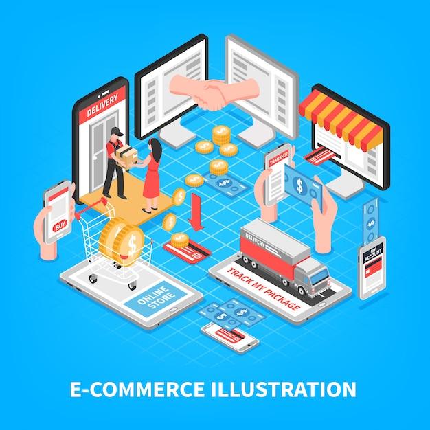 Elektronische handel isometrische illustratie Gratis Vector