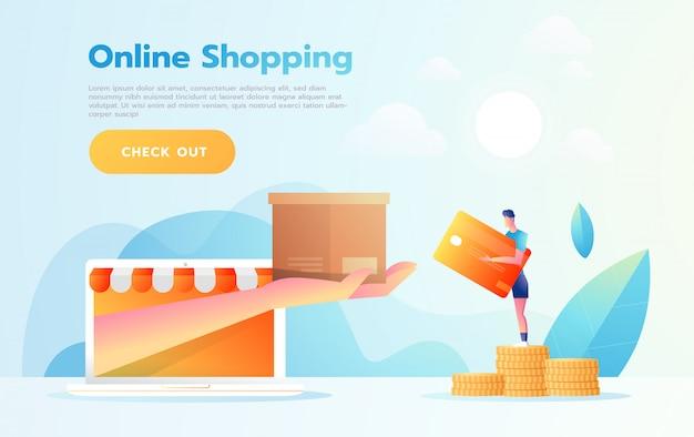 Elektronische handel of online het winkelen concept met handen die uit het computerscherm bereiken die een het winkelen product houden. Premium Vector
