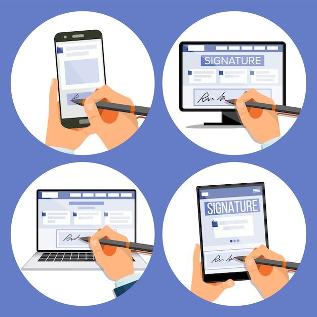 Elektronische handtekeningenset Premium Vector