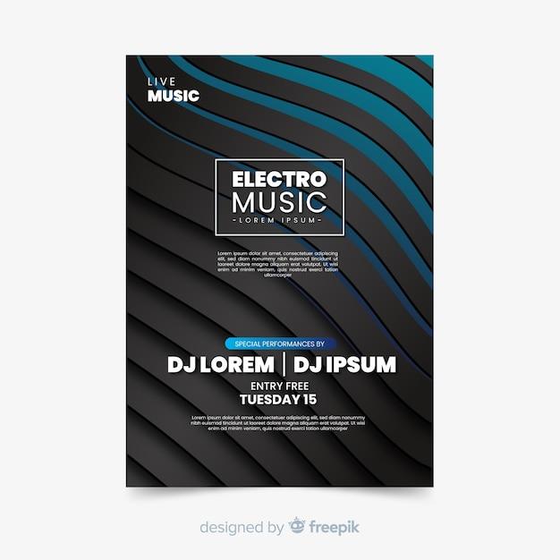 Elektronische muziek abstract sjabloon Gratis Vector