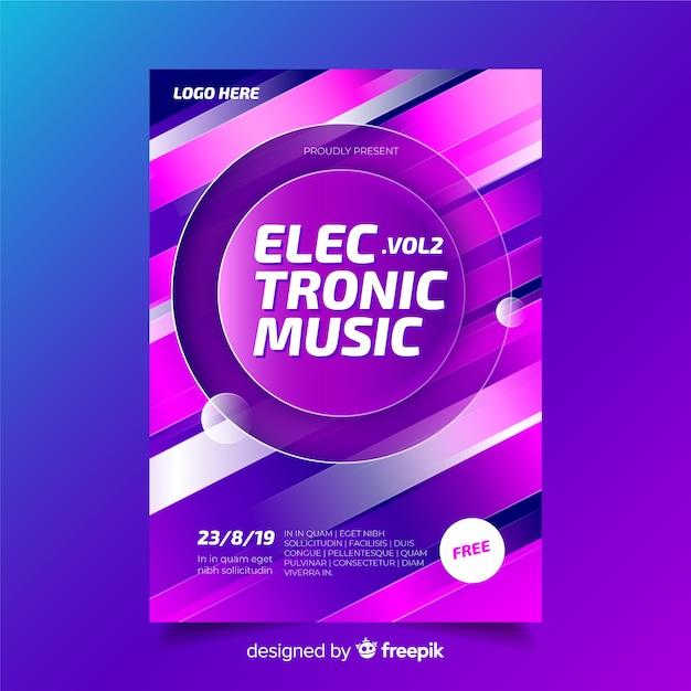 Elektronische muziek festival poster sjabloon Gratis Vector