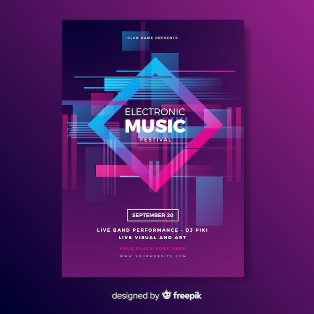 Elektronische muziekaffiche met glitch effect sjabloon Gratis Vector