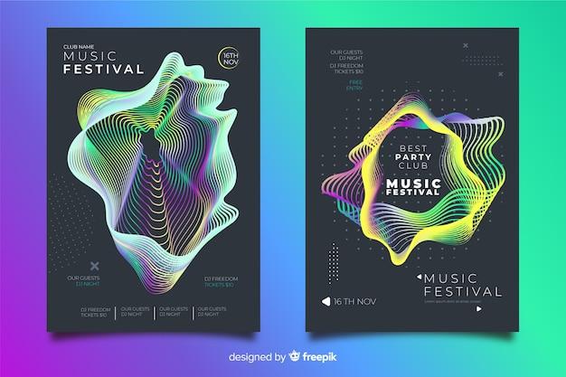 Elektronische muziekfestival postercollectie Gratis Vector