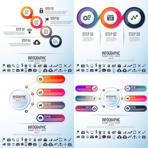 Element creatieve groei symbool data tijdlijn Premium Vector