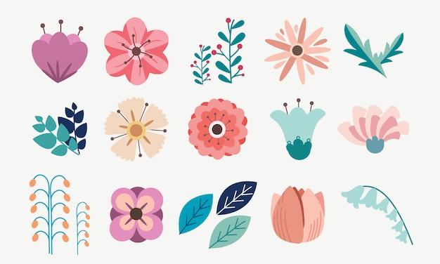 Element van bloemen bloem pack set Premium Vector