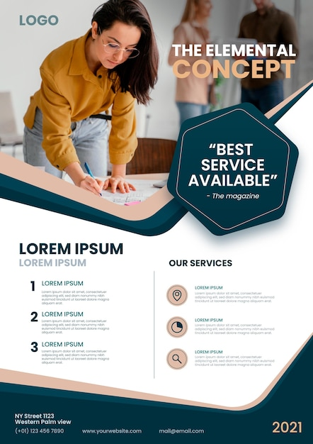 Elementair concept flyer-sjabloon Gratis Vector