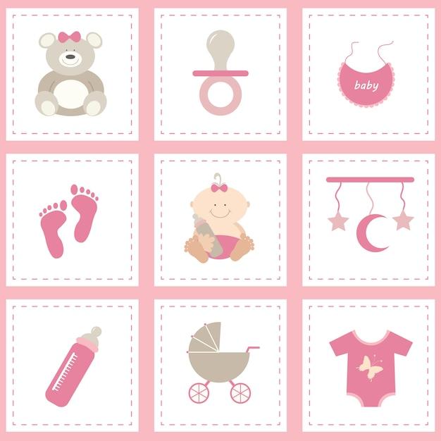 elementen collectie van de baby Gratis Vector