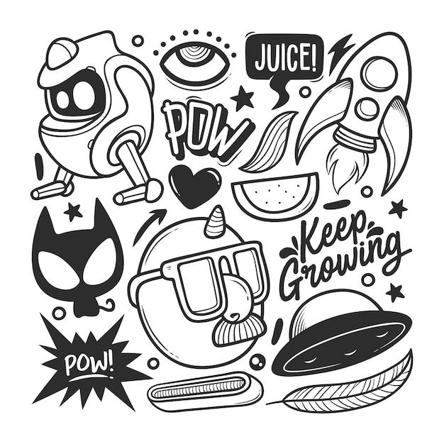 Elementen hand getrokken doodle vector Premium Vector