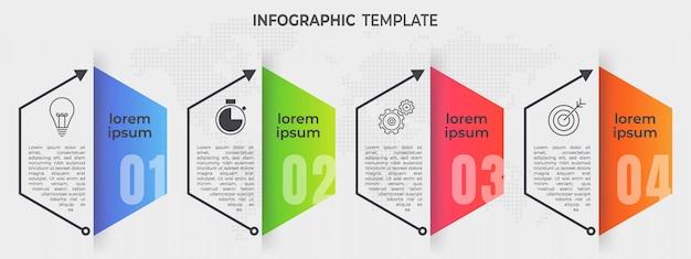 Elementen infographic 4 opties. zeshoek tijdlijnstijl. Premium Vector