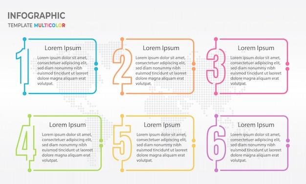 Elementen infographic sjabloon met nummers 6 opties. Premium Vector