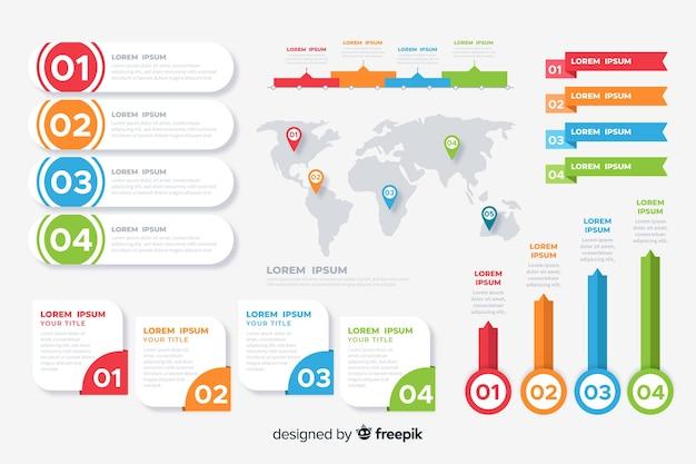 Elementen van platte infographic collectie Gratis Vector