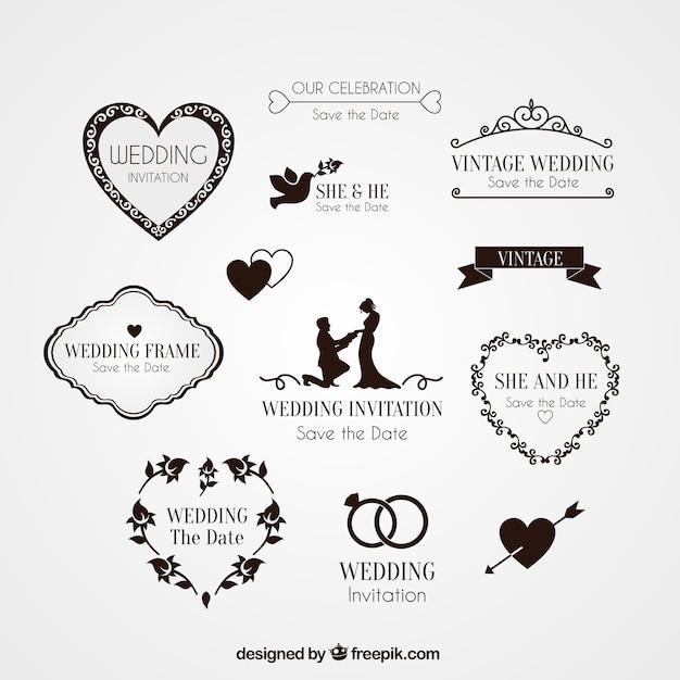 Elementen voor bruiloft uitnodiging Gratis Vector