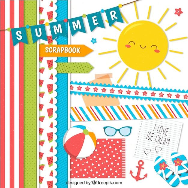 Elementen voor de zomer Gratis Vector
