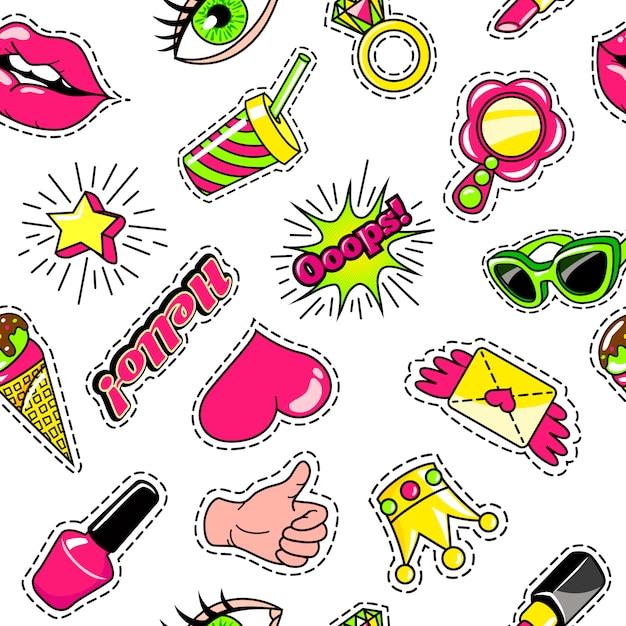 Elementen voor meisjes komische stijl naadloze patroon Gratis Vector