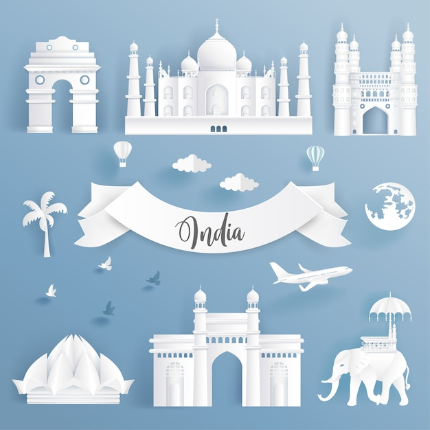 Elementenset wereldberoemde oriëntatiepunten van india. Premium Vector
