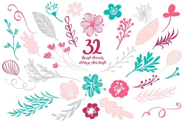 Elements-collectie met bladeren en bloemen voor wenskaarten Premium Vector