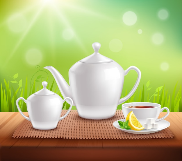 Elements of tea service samenstelling Gratis Vector