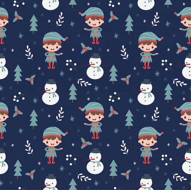 Elf, sneeuwpop en kerstmis elementen naadloos patroon Premium Vector