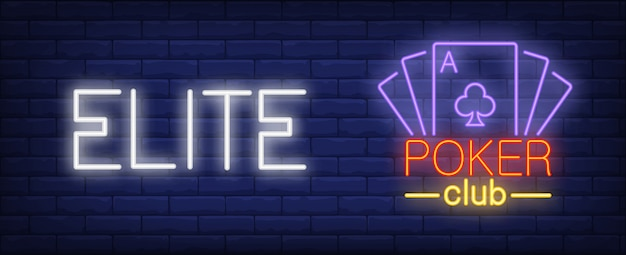 Elite poker club illustratie in neon stijl. tekst en speelkaarten Gratis Vector