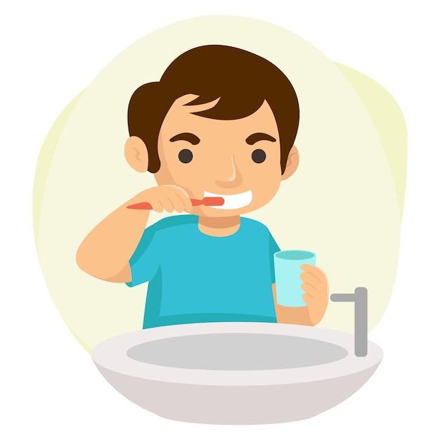 Elke ochtend poetst een gelukkige jongen zijn tanden. illustratie concept Premium Vector