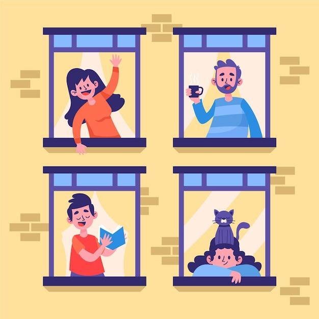 Elke ochtend staan er mensen voor hun raam Gratis Vector