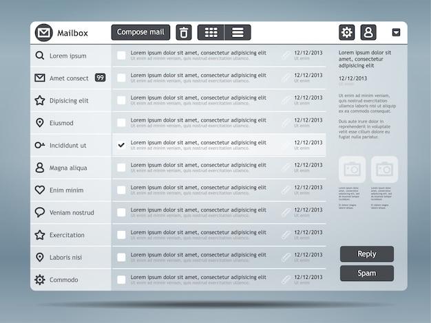 Email interface Premium Vector