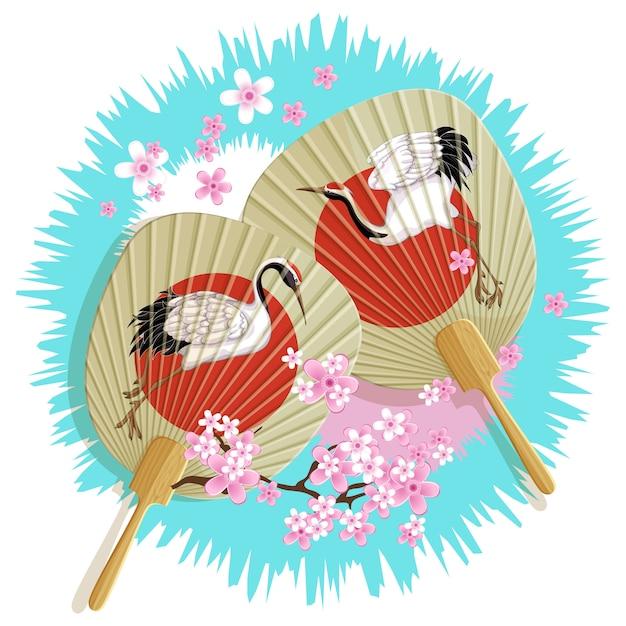 Embleem met twee japanse papieren fans Premium Vector