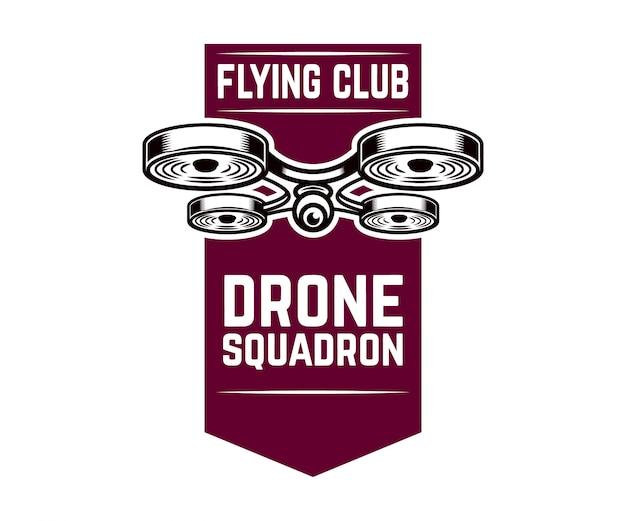 Embleem sjabloon met vliegende drone. element voor logo, label,. illustratie Premium Vector