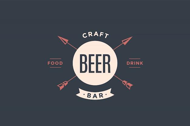 Embleem van bierbar met pijlen Premium Vector