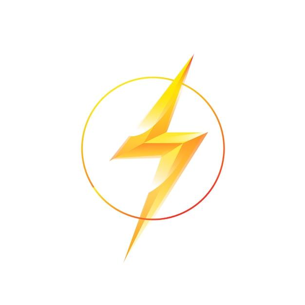 Embleem van bliksem in een cirkel Premium Vector