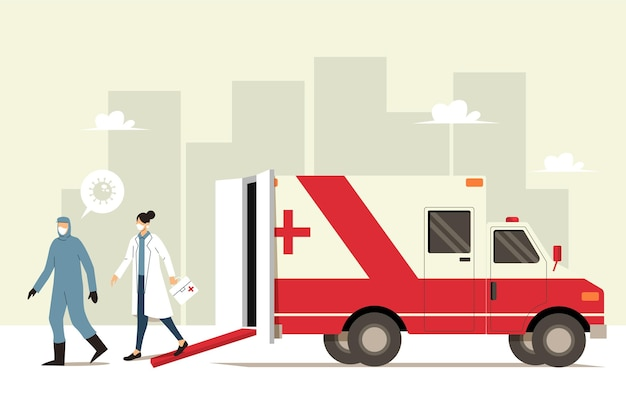 Emergency ambulance concept Gratis Vector