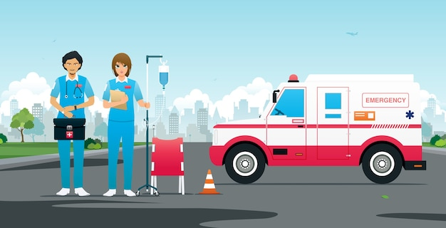 Emergency team met voertuigen en ehbo-uitrusting Premium Vector