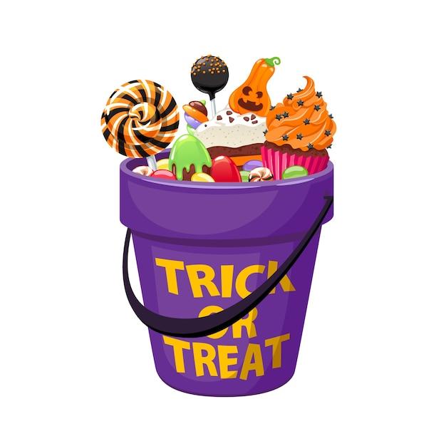 Emmer met halloween-snoepjes en suikergoed Premium Vector