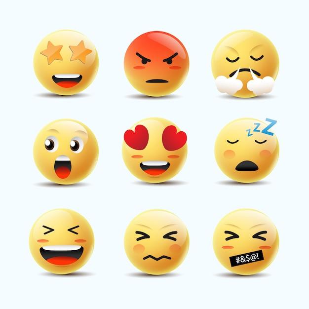 Emoji feeling faces vector. communicatie chat-elementen in gele bal bellen 3d-gezicht. Premium Vector