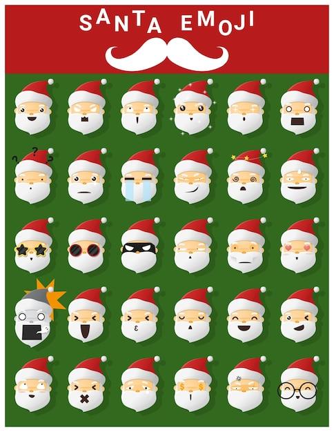 Emoji iconen van de kerstman Premium Vector