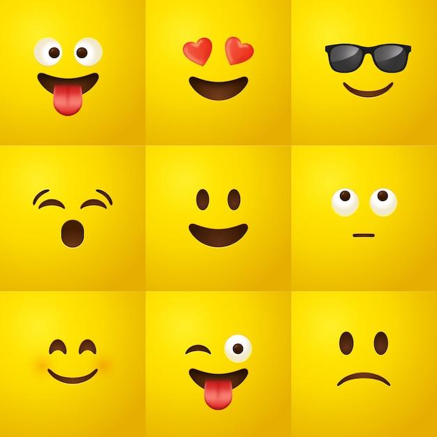 Emoji ingesteld Premium Vector