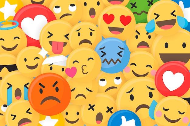 Emoji patroon achtergrond Gratis Vector