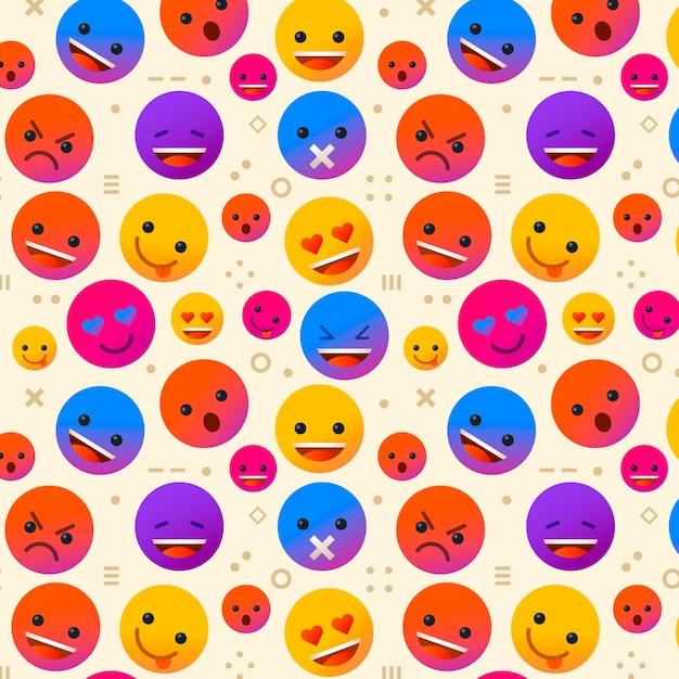 Emoji's en vormen patroon sjabloon Gratis Vector