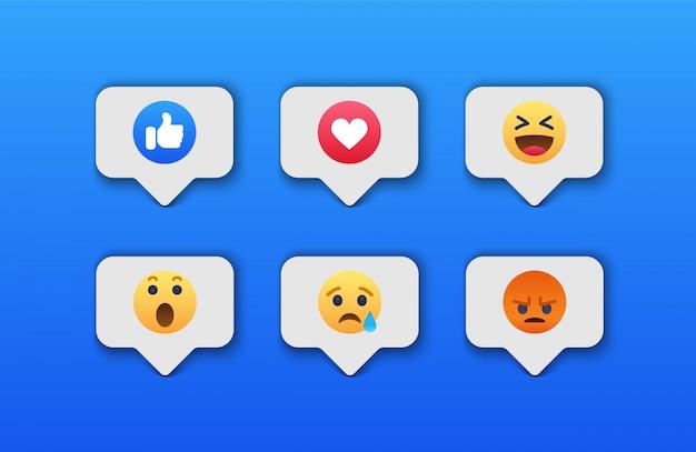 Emoji sociaal netwerkreacties pictogram Premium Vector