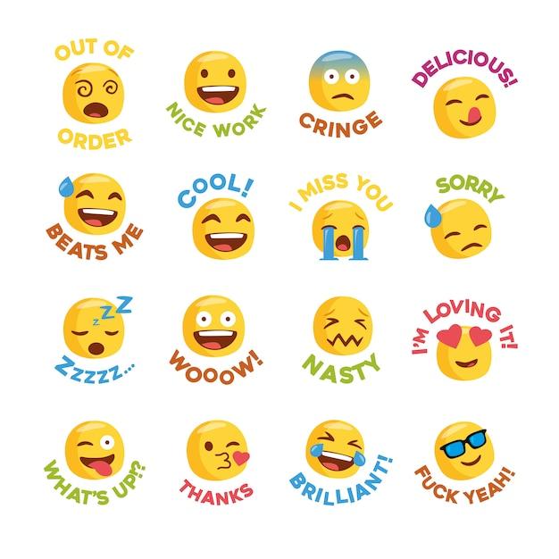 Emoji-stickerset met berichten voor sociaal netwerk Premium Vector