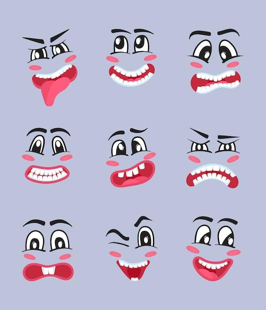 Emoji tekens cartoon set Premium Vector
