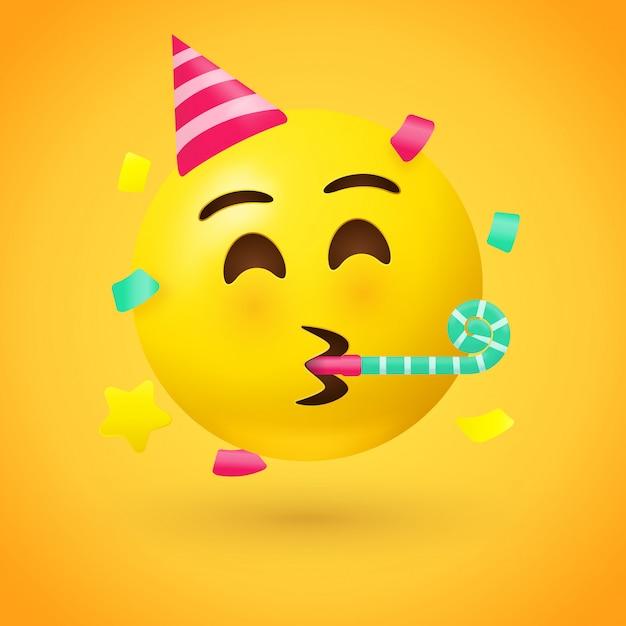 Emoji van het partijgezicht - emoticon met hoed die een partijhoorn blaast Premium Vector