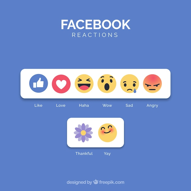 Emoji-verzameling op facebook met plat ontwerp Gratis Vector
