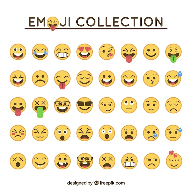 Emoticon collectie in plat design Gratis Vector