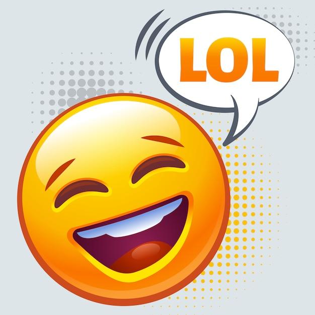 Emoticon hardop lachen. lol-teken. Premium Vector