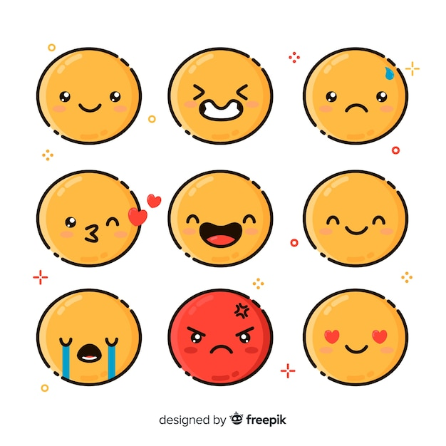 Emoticon-reactiecollectio Premium Vector