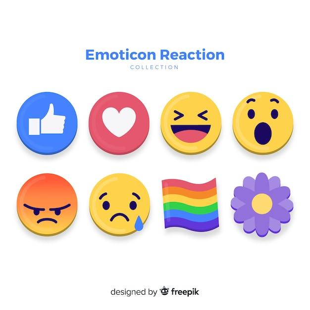 Emoticon-reactieverzameling Gratis Vector