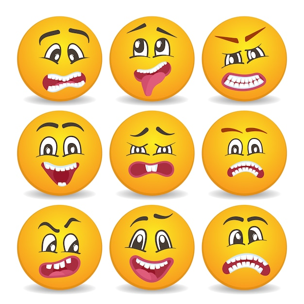 Emoticons of smileys pictogrammen instellen Premium Vector